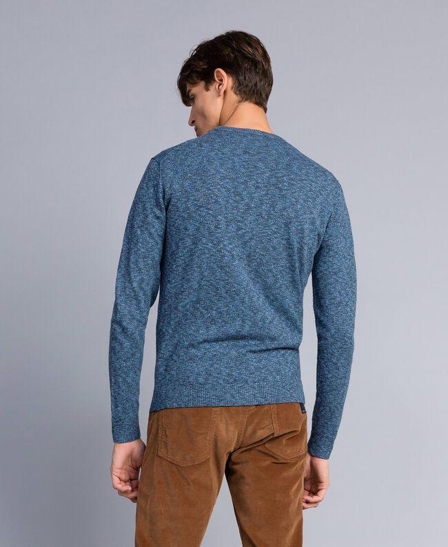 Jersey de algodón y lana Bicolor Gris Antracita / Azul Denim Hombre UA83BB-04