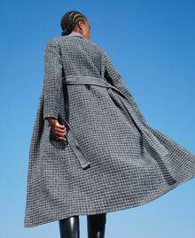 Double wool cloth reversible coat Black / Snow White Check Design Woman 202TP205C-04