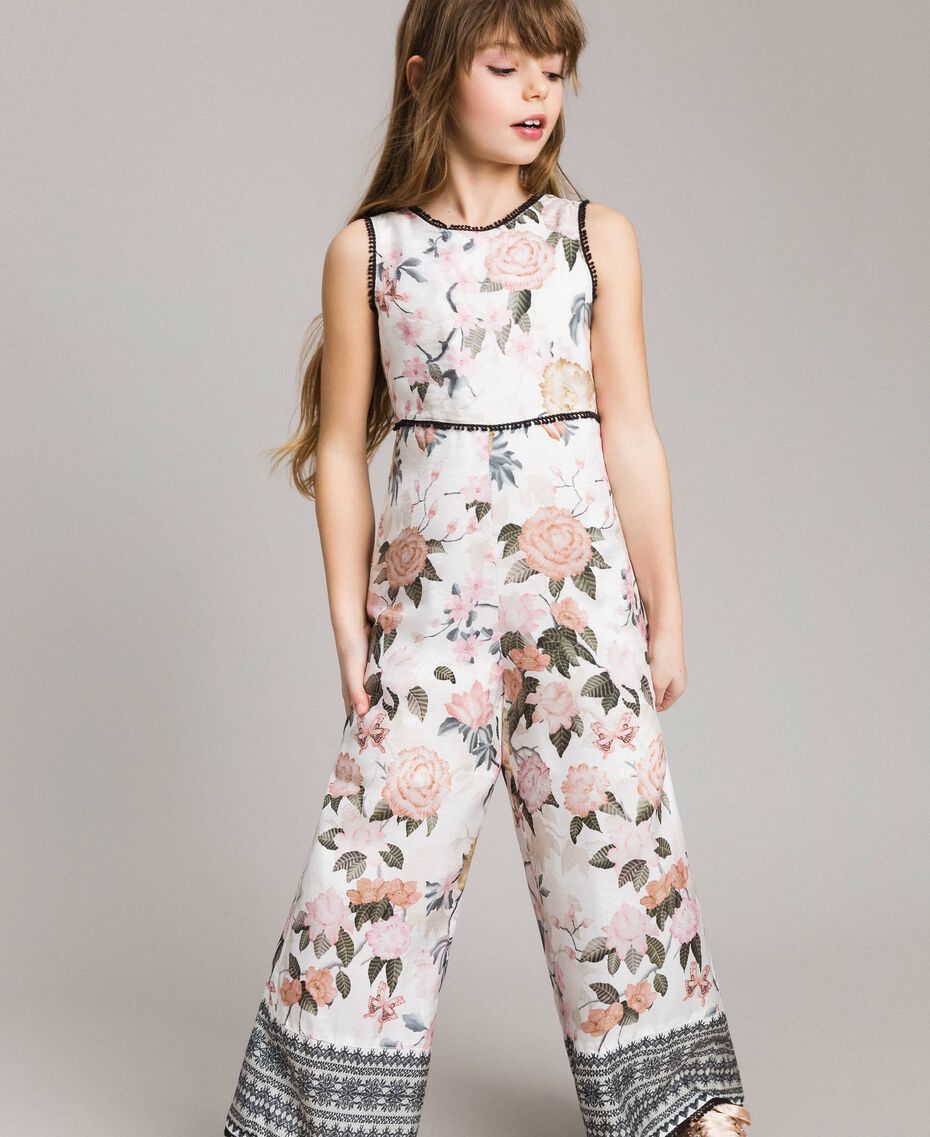 Floral viscose jumpsuit with lace print Ramage Butterfly Print Child 191GJ2523-0S