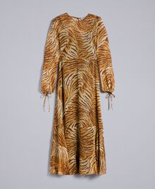 Robe longue en soie imprimée Imprimé Tigre Femme TA8254-0S