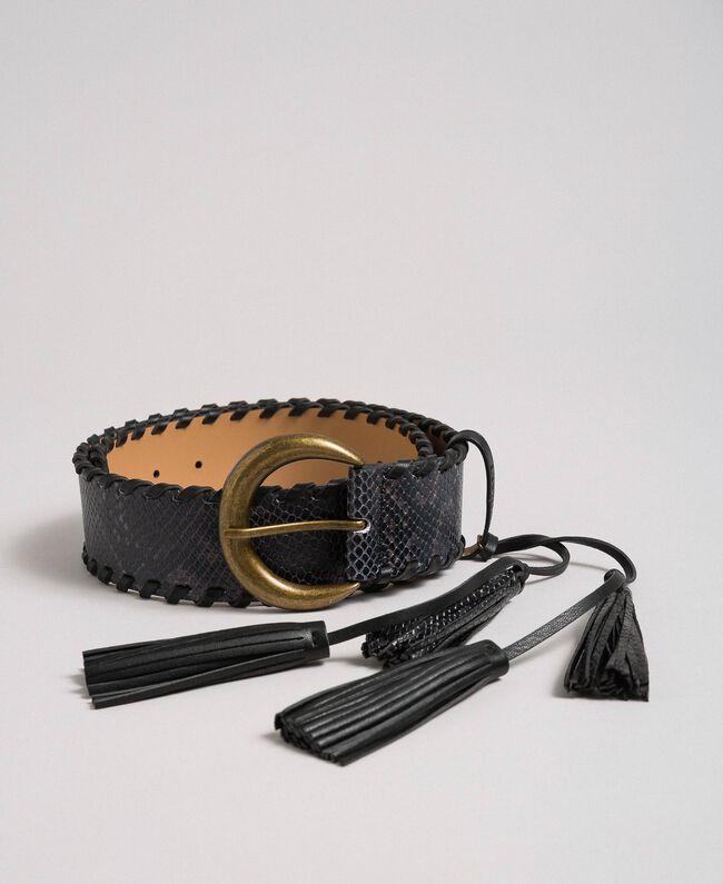Ceinture regular en cuir avec imprimé python Imprimé Python Gris «Anthracite» Femme 192TA4301-01