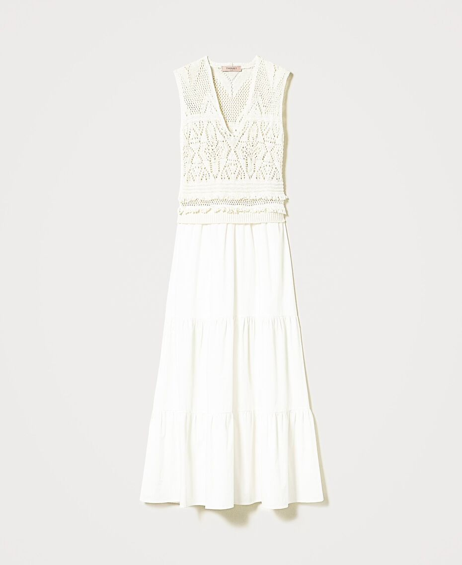Long crochet and muslin dress White Snow Woman 211TT3112-0S