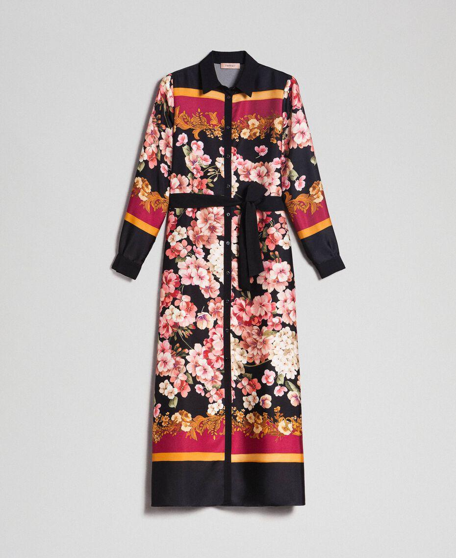 Langes Hemdblusenkleid mit floralem Foulardprint Foulardprint Frau 192TP2604-0S