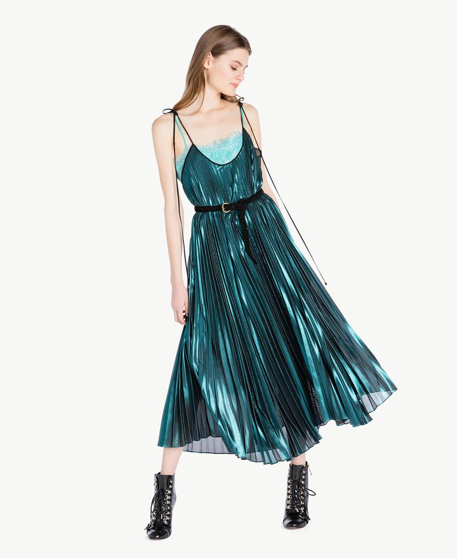 Long pleated dress Metallic Turquoise Woman PS82QP-01