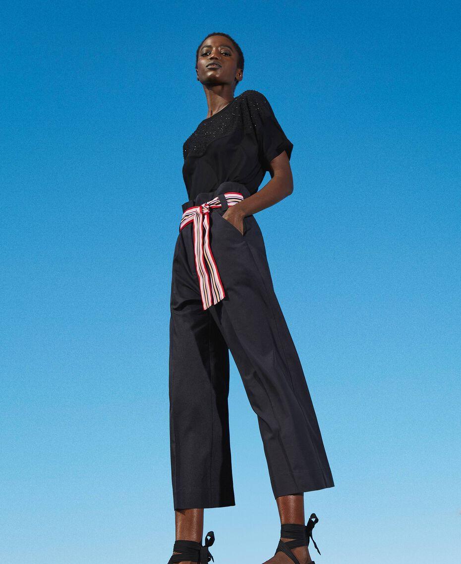 Hose mit mehrfarbigem Gürtel Schwarz Frau 202LI2ECC-01