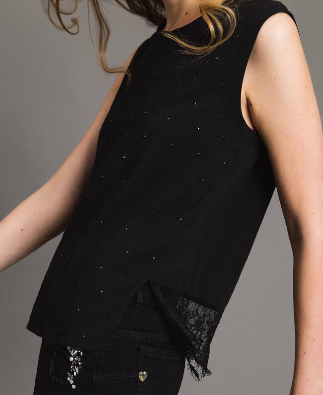 Rhinestones and lace top Black Woman 191MP2450-04