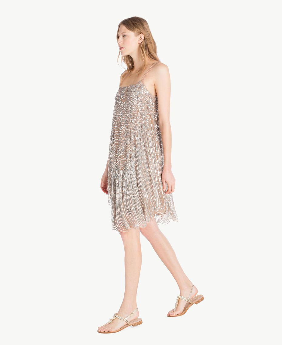 All over sequin dress Dark Silver Woman TS82EA-02