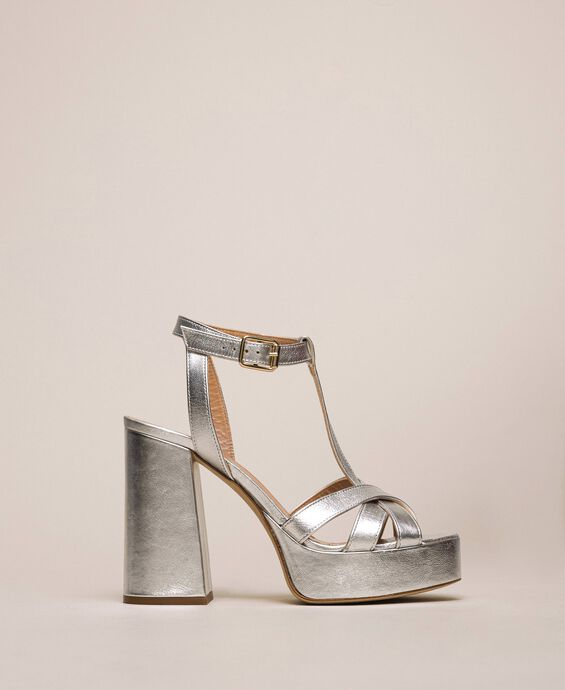 Laminated leather T-bar sandals