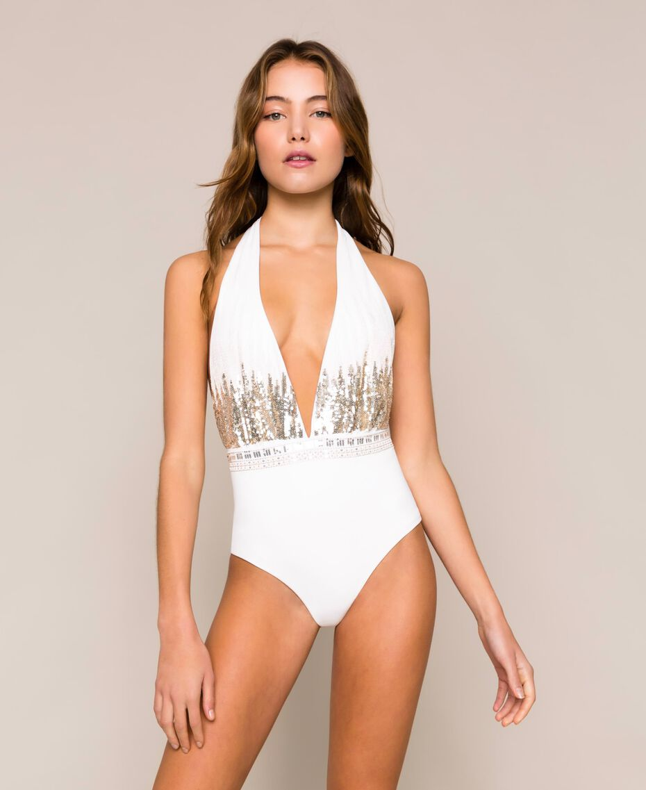 One-piece swimsuit with sequins Ivory Woman 201LBM1ZZ-01