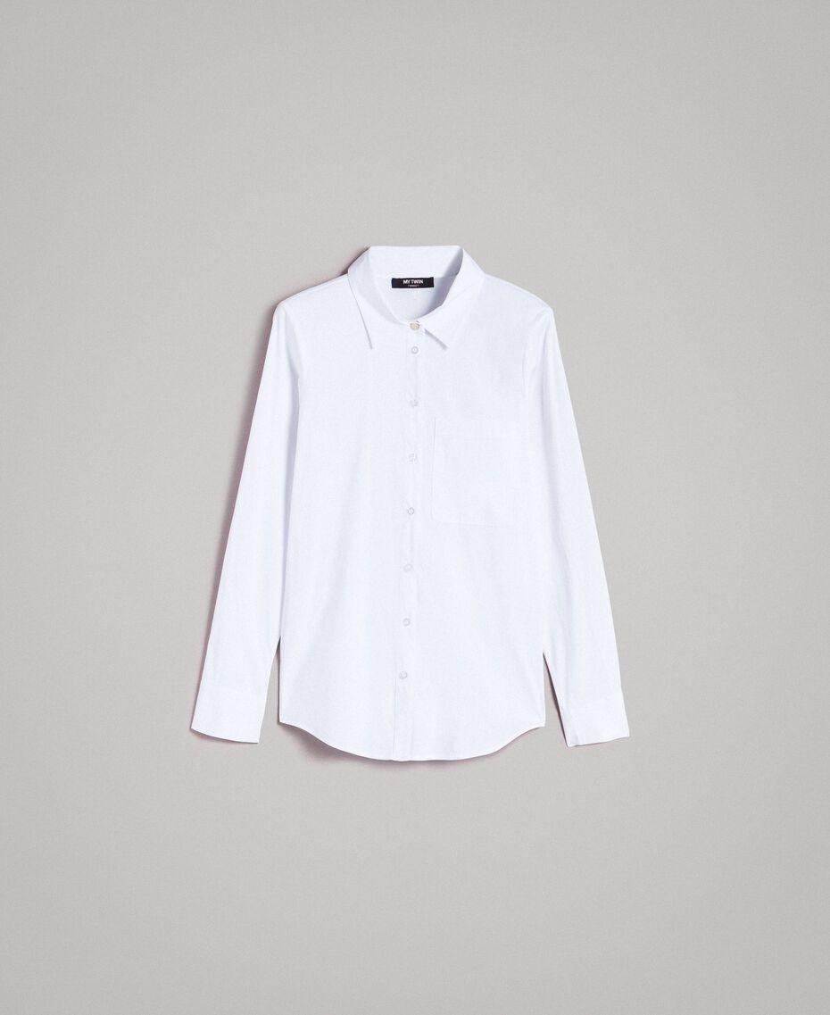 Popeline-Hemd mit Schleifen White Sahne Frau 191MP2216-0S