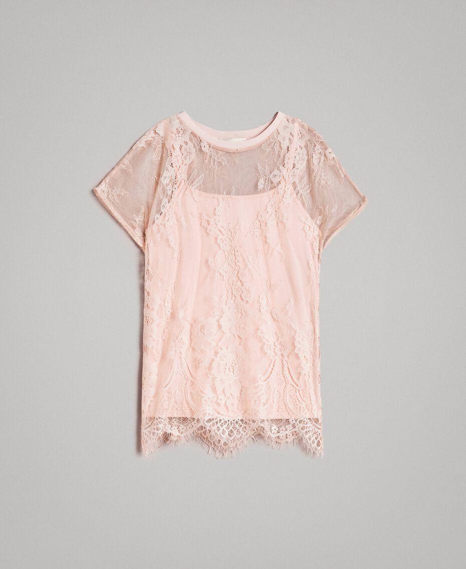 Top in jersey e blusa in pizzo Rosa Blossom Bambina 191GJ2741-01