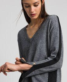 Robe avec bandes en lurex et fond de robe Gris moyen chiné Femme 192MP3100-04