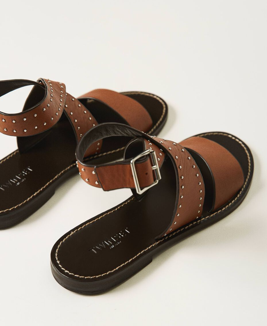 Leather sandals with rivets Leather Brown Woman 211TCT050-03