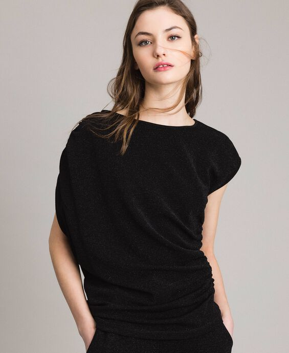 Lurex top with drapings and drawstring