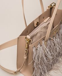 Faux leather shopper with rhinestones and feathers Beige Cremino Woman 201TA7190-06