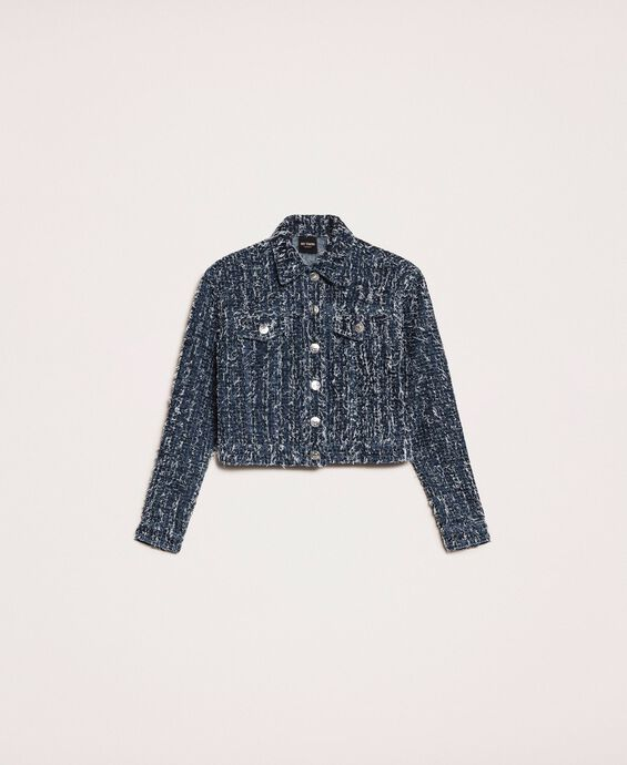 Denim jacket with bouclé