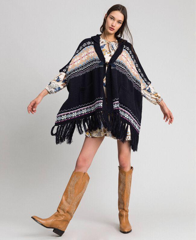 Alpaca jacquard blend poncho Indigo Woman 192MT3082-01