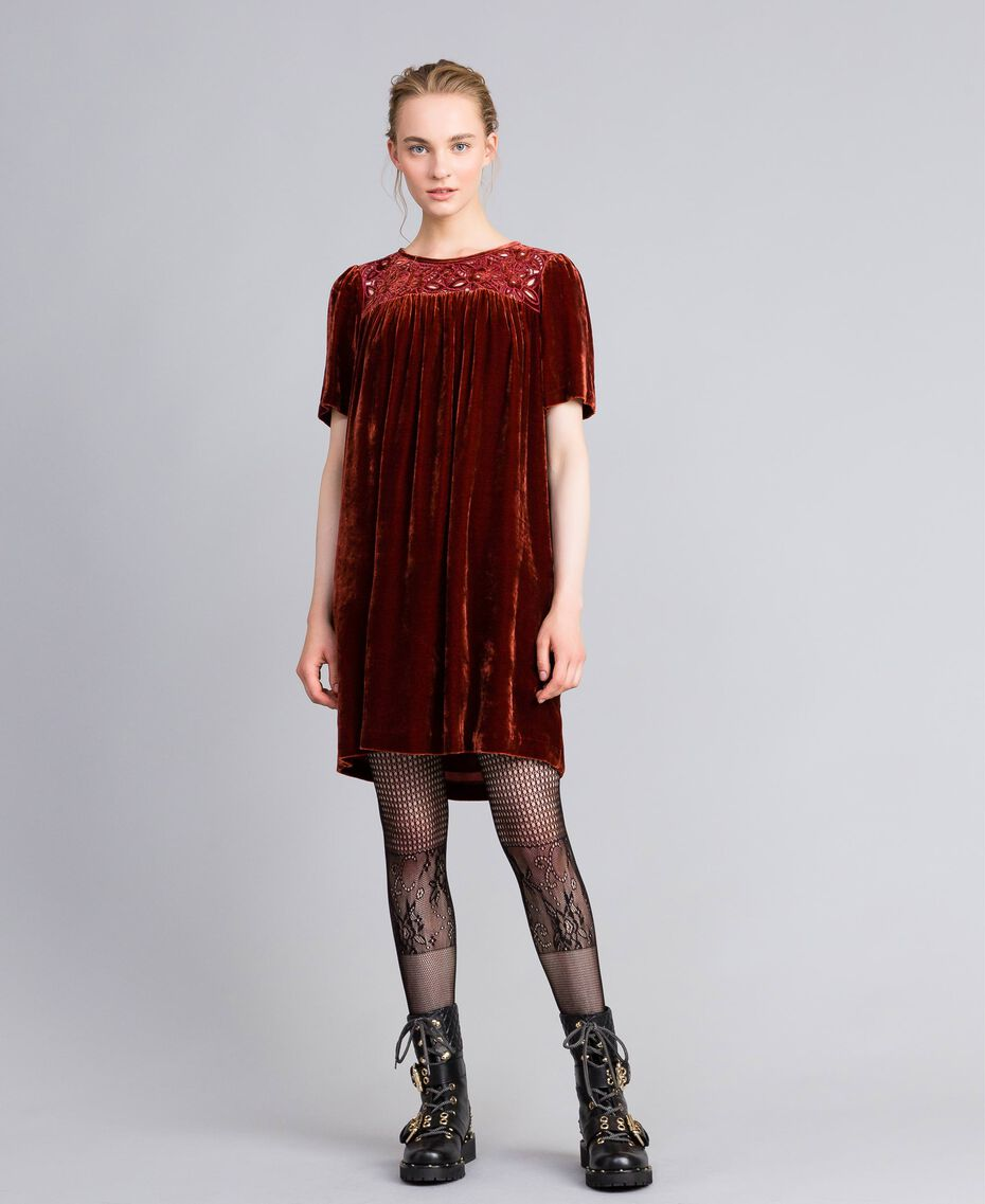 Velvet tunic dress Bordeaux Woman PA823B-01