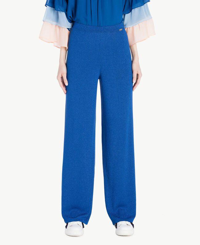 Pantalon palazzo Jacquard Lurex Bleu Marine «Pivoine» Femme SS83EE-01