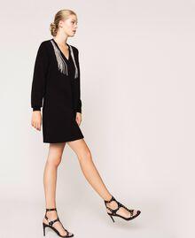 Robe décorée de franges en strass Noir Femme 201TP3080-03