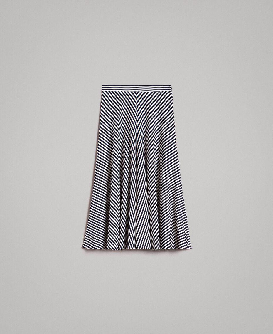 Jupe mi-longue à rayures bicolores Rayures Blanc Cassé / Ombre Bleue Femme 191ST2036-0S
