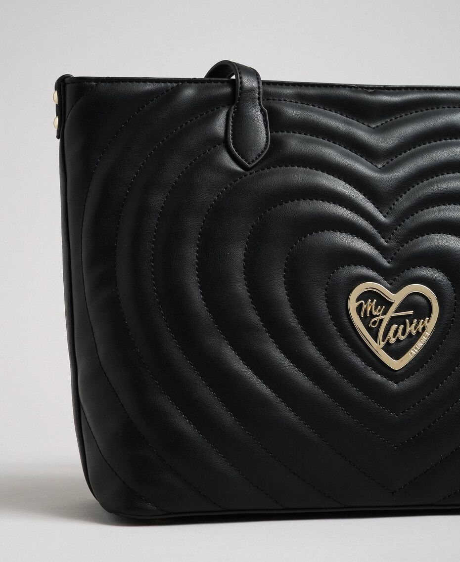 Borsa shopper in similpelle con cuori trapuntati Nero Donna 192MA7081-02