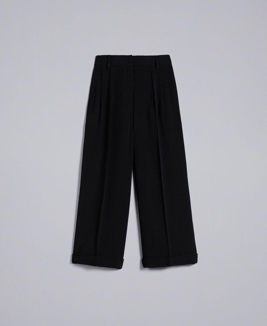 Pantaloni cropped in envers satin Nero Donna TA824K-0S
