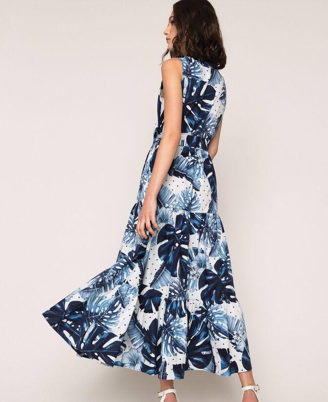 Длинное платье из набивного поплина Принт Тропический Горошек Синий / Виши женщина 201TP2552-03