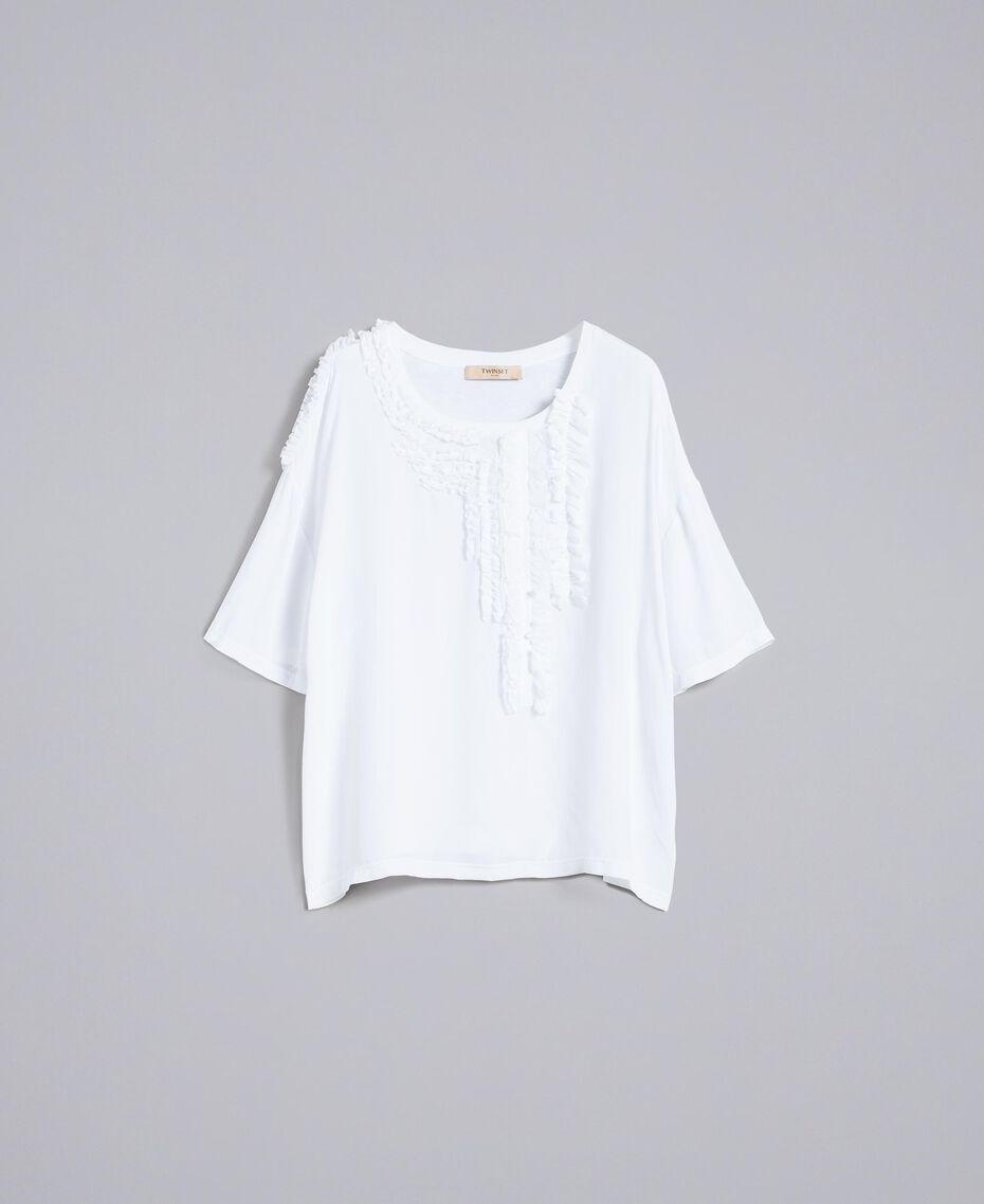 Blouse en soie et jersey avec ruches Blanc Femme PA82DC-0S