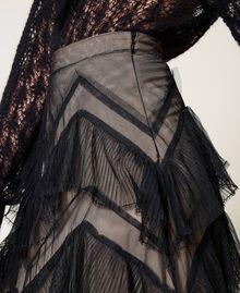 Long tulle skirt with pleated flounces Dark Raspberry Woman 212TP2204-04