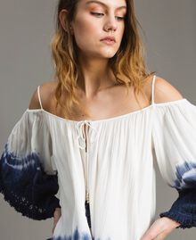 Tie dye blouse with macramé and fringes Two-tone Off White / Blunight Woman 191MT2320-02