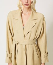 "Linen blend trench coat ""Cuban Sand"" Pink Woman 211TT2580-04"