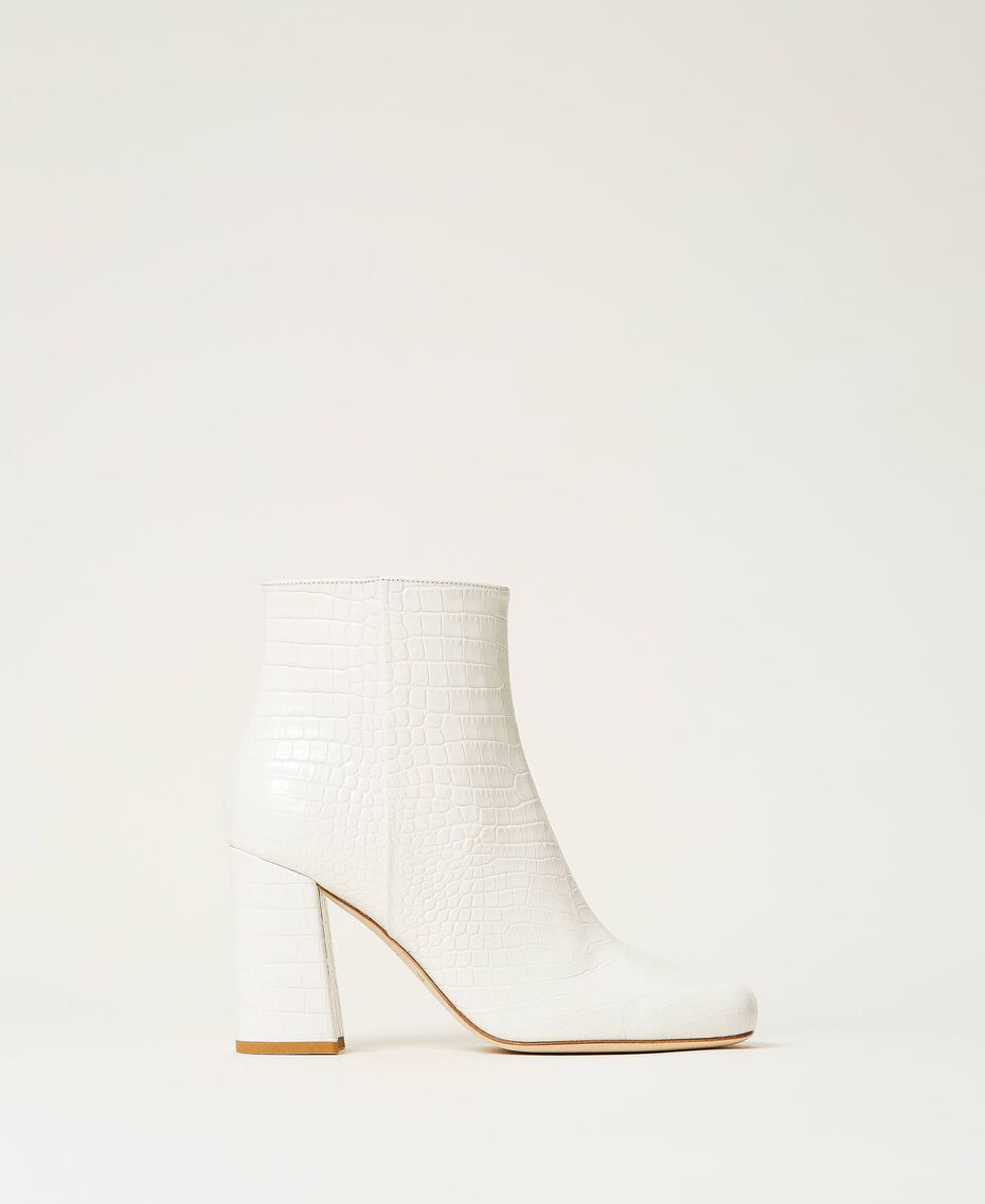 """Leather ankle boots with crocodile print """"Snow"""" White Crocodile Print Woman 202TCP074-02"""