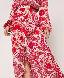 "Paisley print georgette skirt ""Lava"" Red Cashmere Print/ ""Blossom"" Pink Woman 201TP2535-04"