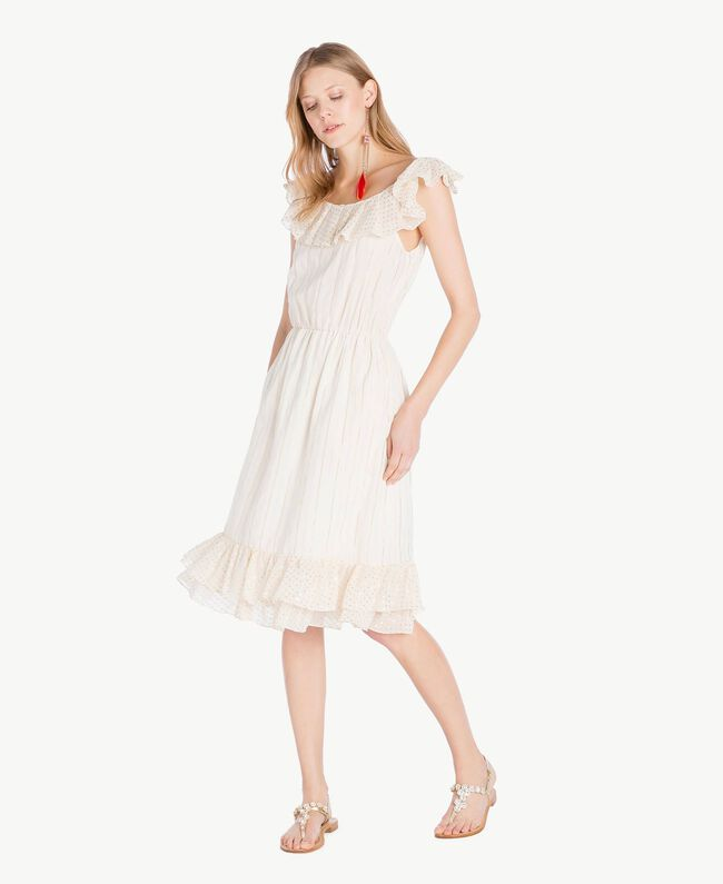 Kleid aus Jacquard Zweifarbig Meliertes Mittelgrau / Hellgold Frau TS8264-01