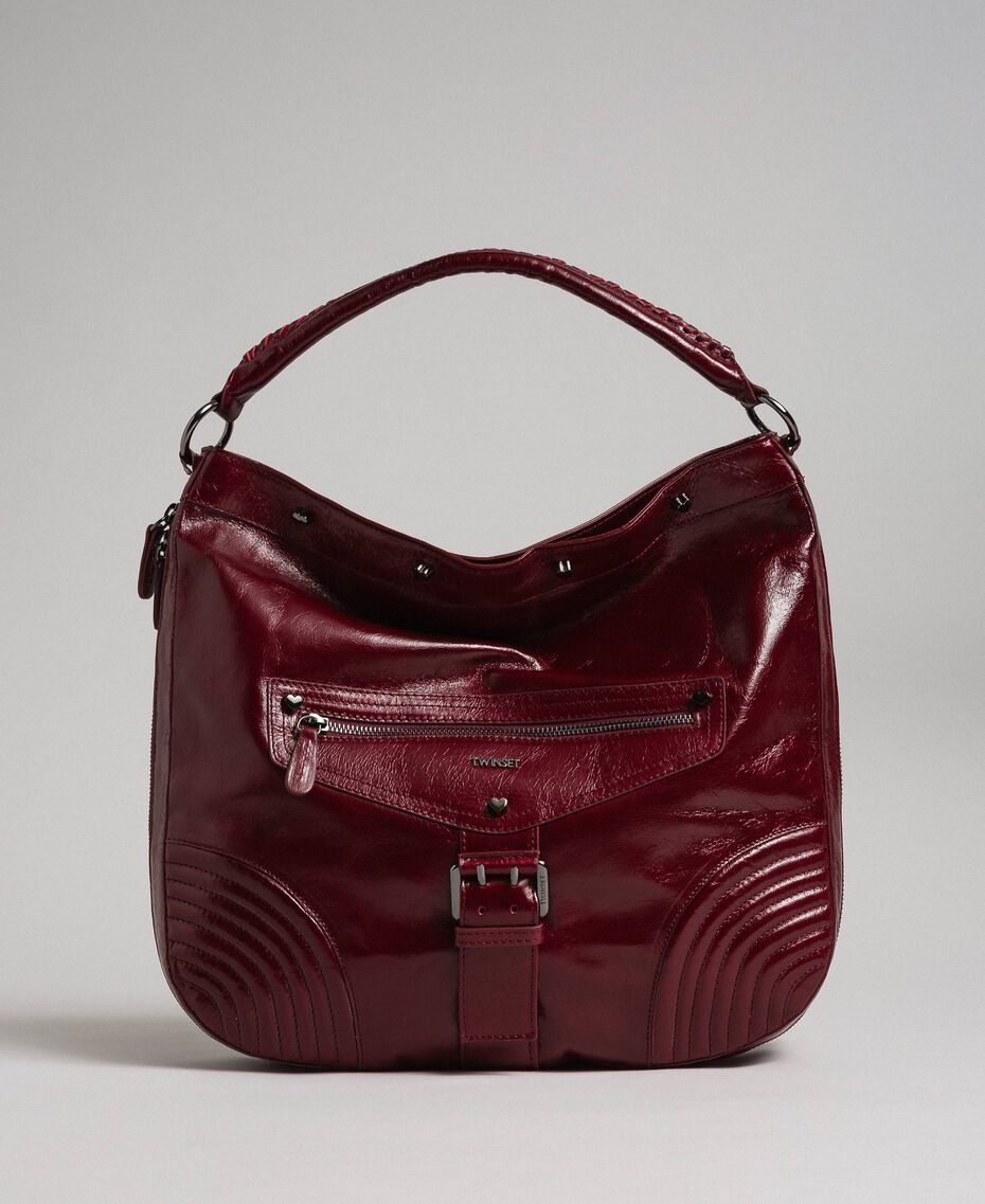 Crackled effect leather hobo bag with studs Beet Red Woman 192TA7236-01