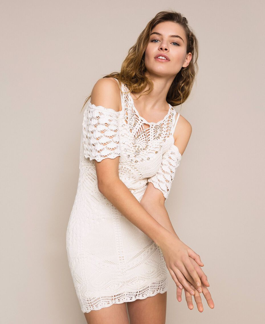 Embroidered crochet sheath dress with fringes White Snow Woman 201TT3151-01