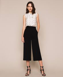 Wide georgette trousers Black Woman 201TP202C-01