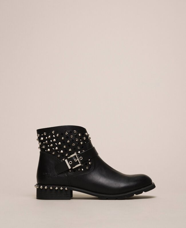 Biker boots with rhinestones and logo Black Woman 201MCP040-04