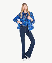 Printed down jacket Multicolour Lapis Blue Flowers Woman JS82BA-05