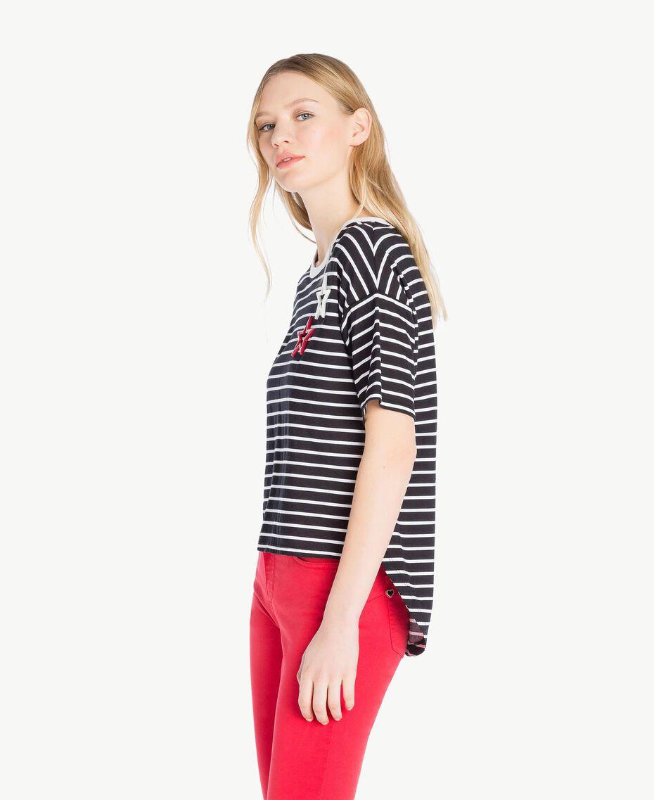 T-shirt rayures Rayure Noir / Blanc Optique Femme JS82RH-02