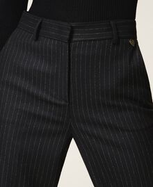 "Wool blend wide leg trousers Black / ""Lurex"" Gold Pin Stripe Woman 202TT2171-04"