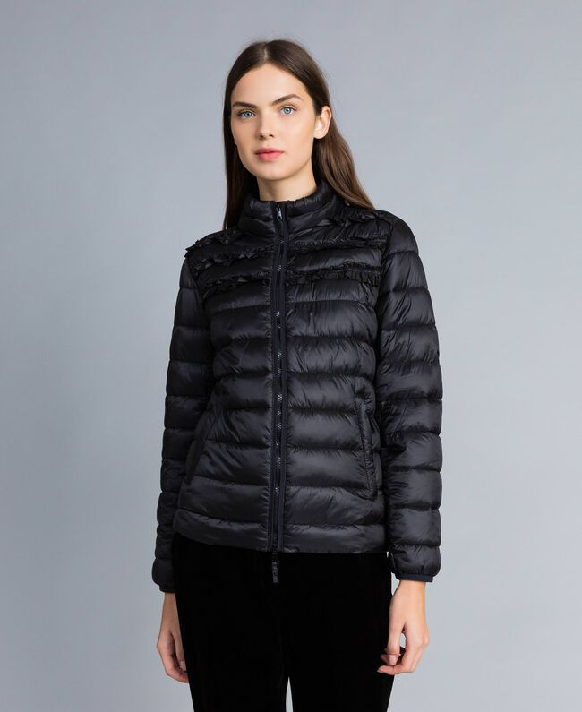 Short shiny nylon padded jacket with ruches Black Woman PA82GS-01