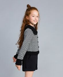 Cardigan in misto lana a righe Bicolor Nero / Off White Bambina GA83KA-02