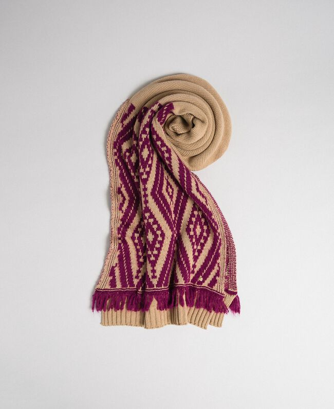 "Wool and cashmere scarf with fringes Ethnic ""Iced Coffee"" Brown/ Beet Red Jacquard Woman 192TA4418-01"