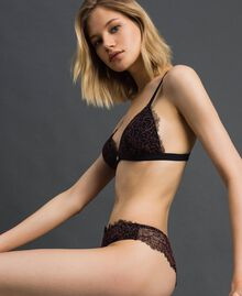"Lace and tulle Brazilian briefs Black / ""Dolly"" Pink Woman 192LI6477-02"