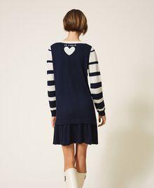 Robe en maille à rayures Rayé Space Bleu /Blanc Sucre Femme 202ST3012-03