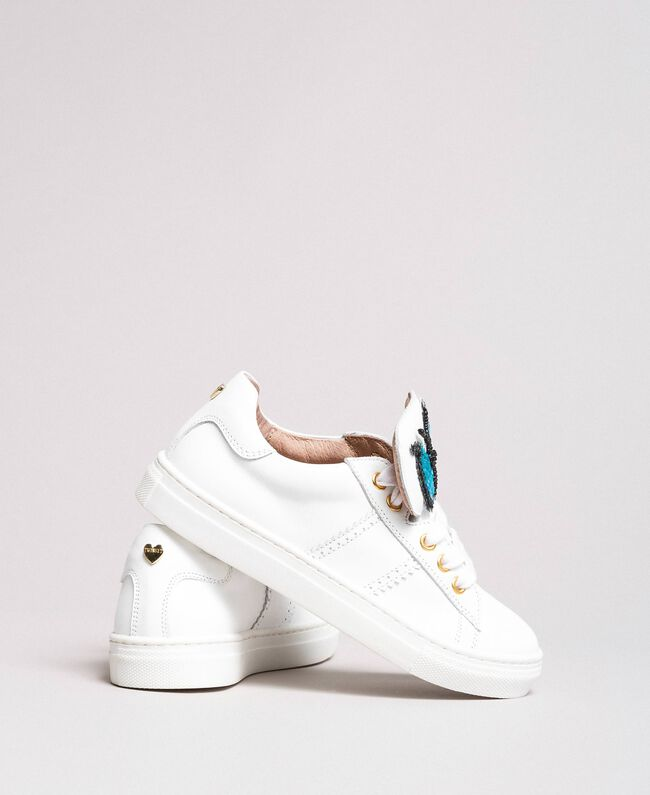 Leather sneakers with butterfly patch Pale Cream Child 191GCJ140-04