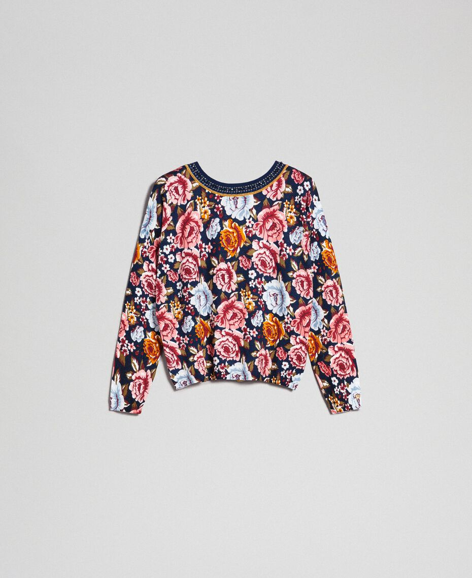 Dual use boxy jumper with rhinestones Black / Lily Animal Print Woman 192MP3230-0S