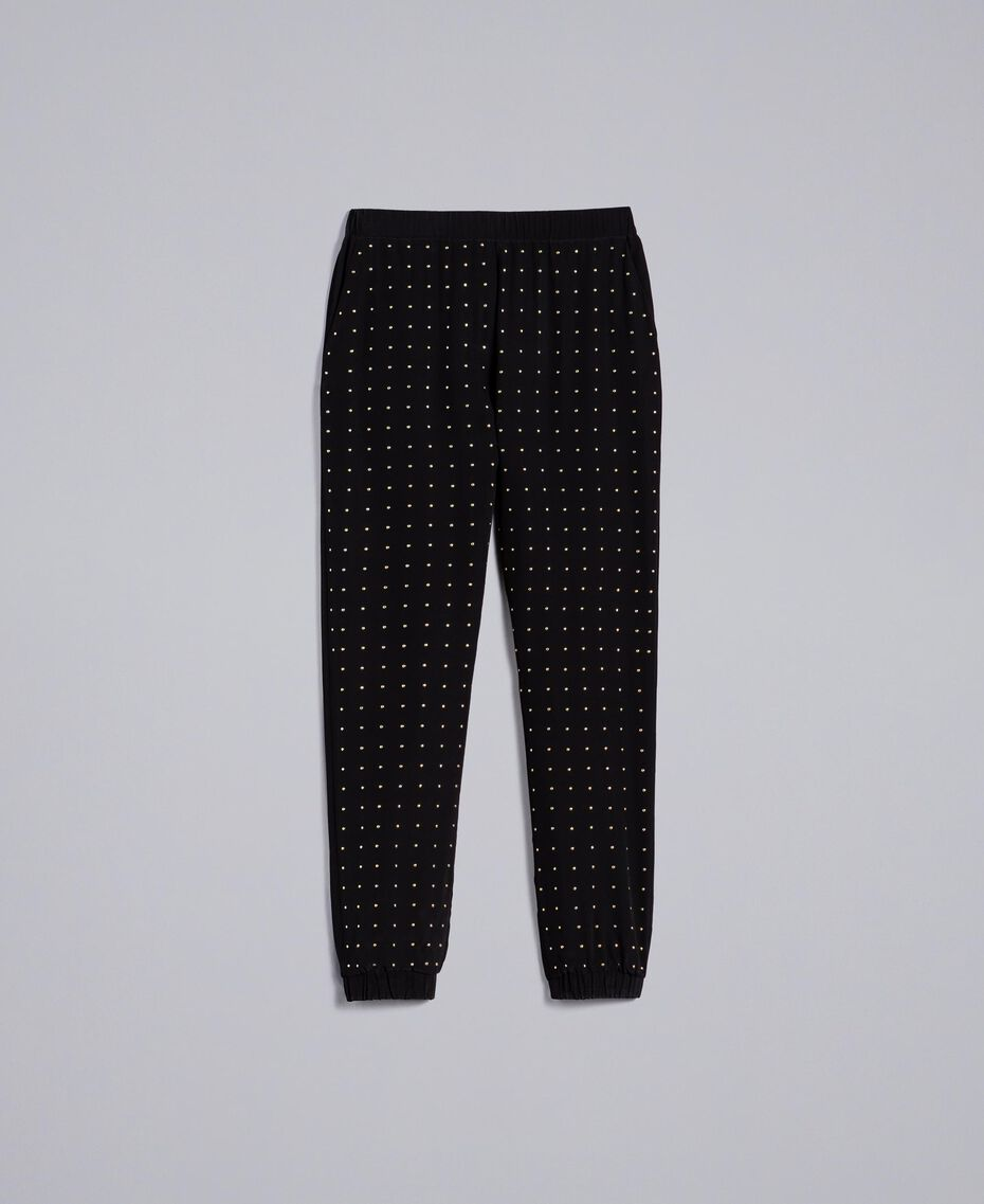 Studded silk jogging trousers Black Woman PA82EV-0S